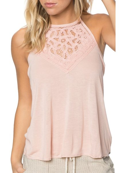 O'Neill dya halter top in rose cloud - Delicate floral lace enhances this knit halter top,...