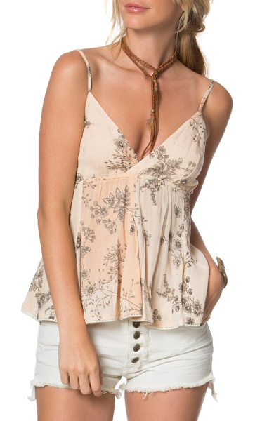 O'Neill vita babydoll tank in peach nectar - guv - Delicate sprays of flowers add romantic embellishment to...