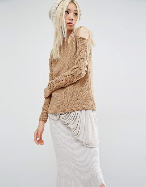 Oneon Hand Knitted Sweater with Cold Shoulder and Cable Sleeve in tan - Sweater by Oneon, Wool-mix knitted fabric, Round...