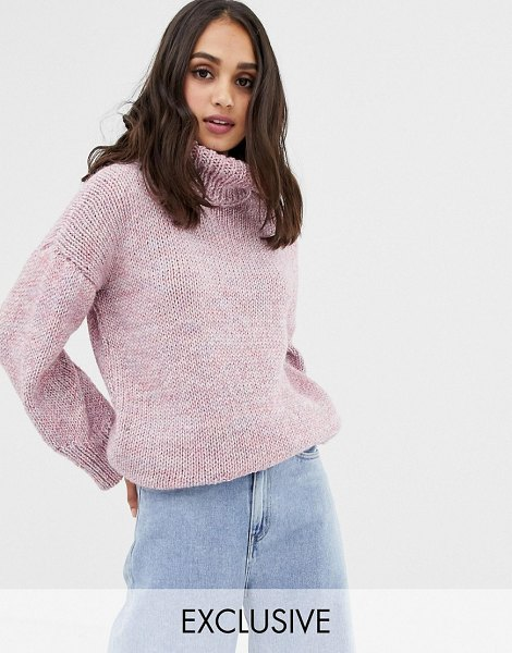 Oneon exclusive hand knitted oversized rainbow sweater-pink in pink