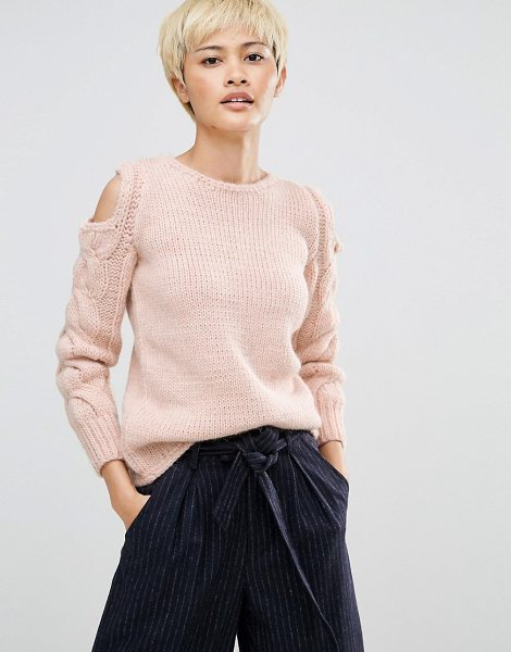 Oneon Hand Knitted Sweater with Cold Shoulder and Cable Sleeve in pink - Sweater by Oneon, Chunky wool-mix knit, Round neckline,...