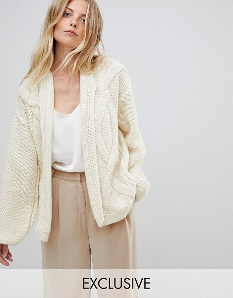 Oneon OneOn Hand Knitted Cable Cardigan in cream - Cardigan by Oneon, For when comfort is key, Cable knit...