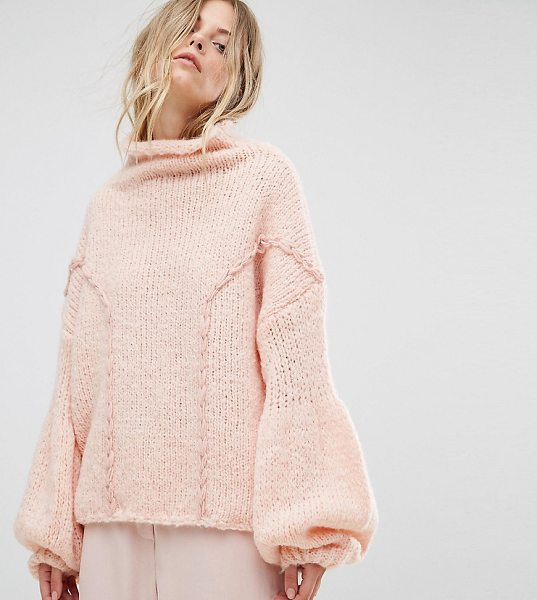 "Oneon OneOn Hand Knitted Soft Cable Sweater in pink - """"Sweater by Oneon, Soft-touch knit, High neck, Dropped..."
