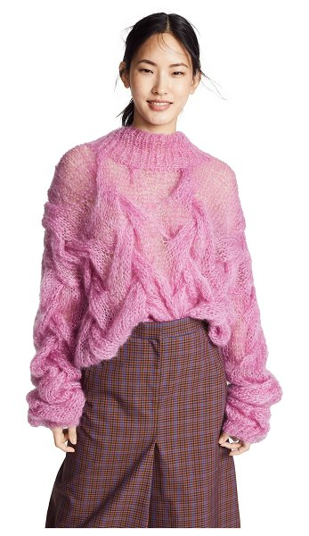Oneonone transparent sweater in bright pink - Fabric: Brushed cable knit Pullover style Waist-length...