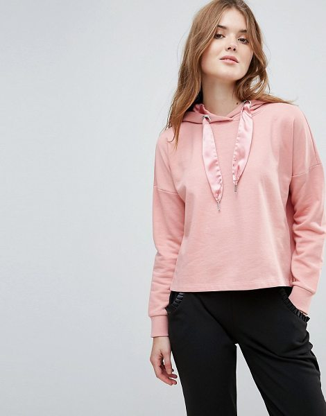 Only Beatrice Sateen Pullers Hoody in blush - Hoodie by Only, Soft-touch sweat, Drawstring hood with...