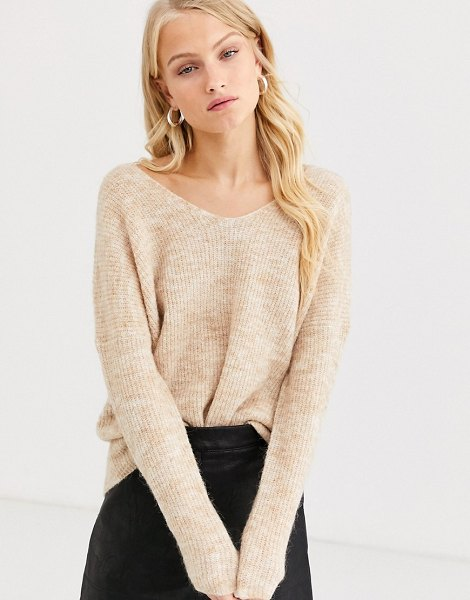 Only brushed rib v neck sweater-beige in beige