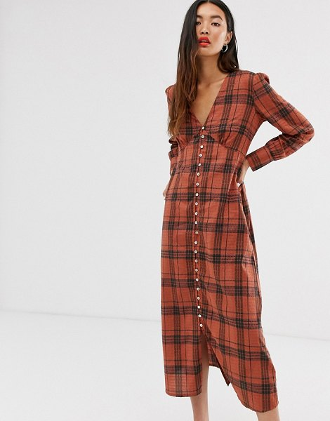 Only check maxi dress with button through detail-brown in brown