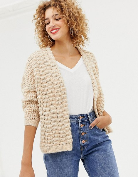 Only chunky knit cardigan in pumicewmelange