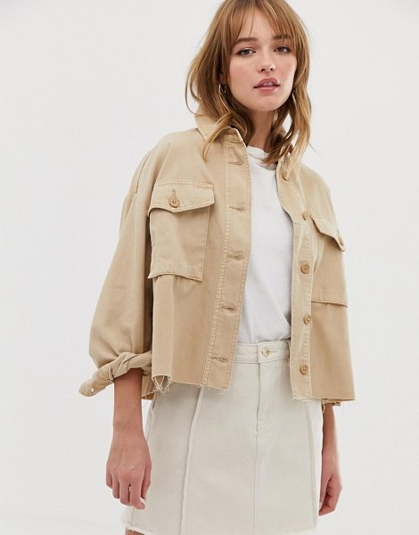 Only cropped utility jacket-tan in tan
