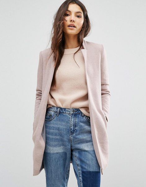 Only Edge to Edge Coat in pink - Coat by Only, Soft-touch cotton-mix fabric, Contrast...