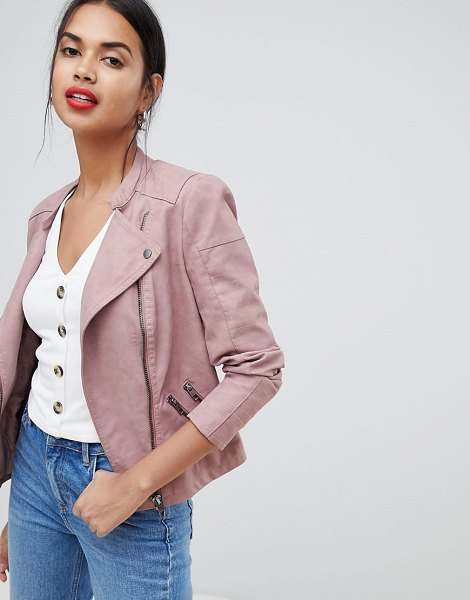 Only faux leather biker jacket-pink in pink
