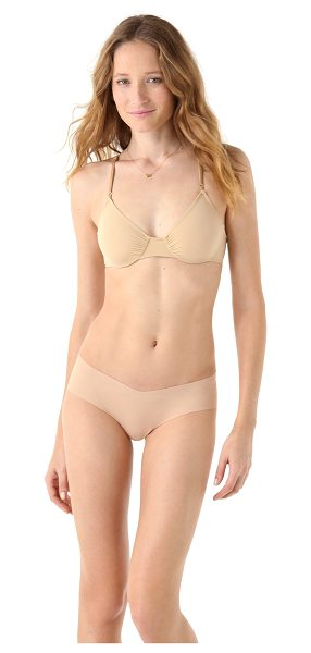 Only Hearts second skins racer back bra in nude - A jersey Only Hearts underwire bra with gathered elastic...