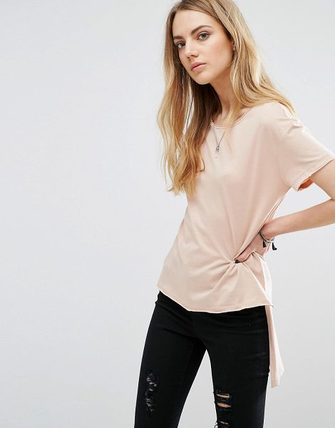 Only Hi-lo T-shirt in pink - Top by Only, Soft-touch jersey, Crew neck, Side splits,...