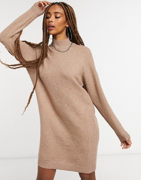 Only high neck sweater dress in brown in brown