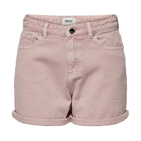 Only high waist cuffed shorts in pink