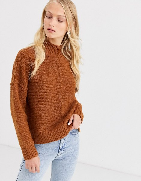 Only highneck rib knitted sweater-brown in brown