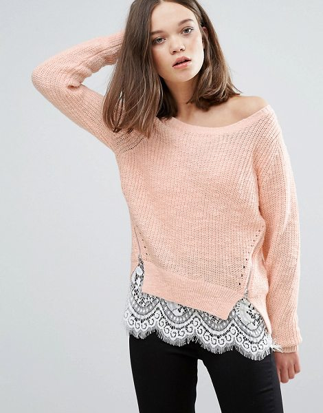 ONLY Knit Side Zipped Sweater with Lace Underlayer - Sweater by Only, Textured knit, Boat neck, Sheer lace...
