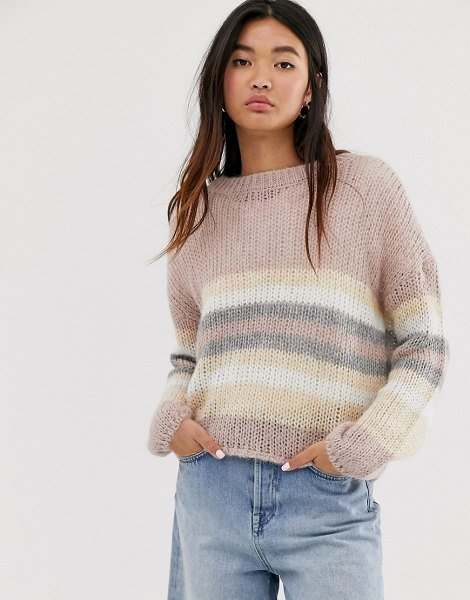 Only knitted sweater in pink stripe in pink
