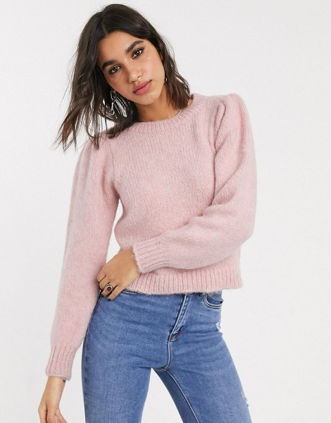 Only knitted sweater with puff sleeves in pink in pink