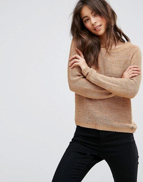 Only knitted sweater in tan