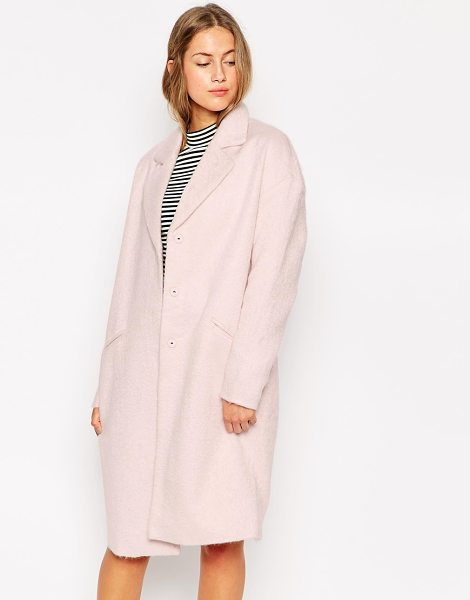 Only Long line blazer coat in barely pink - Coat by Only Mid-weight, soft-touch Fluffy feel fabric...