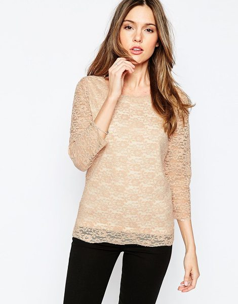Only Long sleeve lace top in rose dust - Top by Only Sheer lace overlay Wide scoop neckline Sheer...