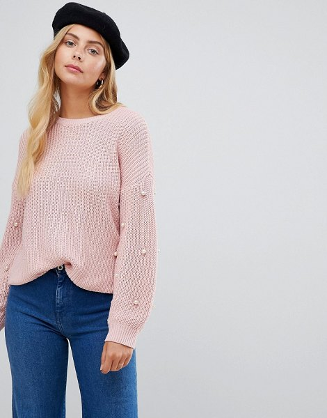 Only mella pearl sleeve sweater in mistyrose