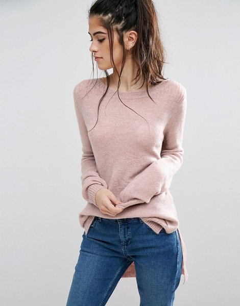 Only Orleans High Low Knit Sweater in pink - Sweater by Only, Midweight super-soft fine knit, Scoop...
