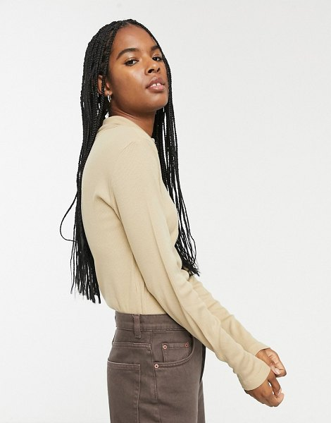Only ribbed roll neck top in tan in tan
