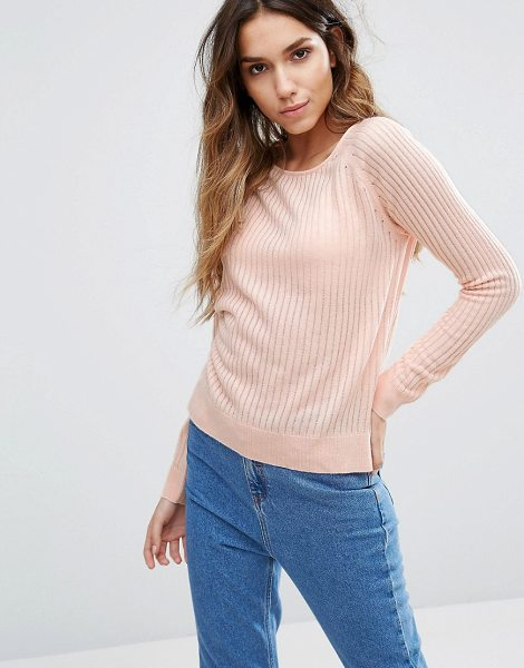 Only Ribbed Sweater in pink - Sweater by Only, Ribbed knit, Crew neck, Side splits,...