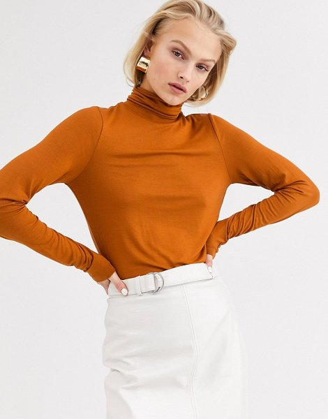 Only roll neck long sleeve top-brown in brown