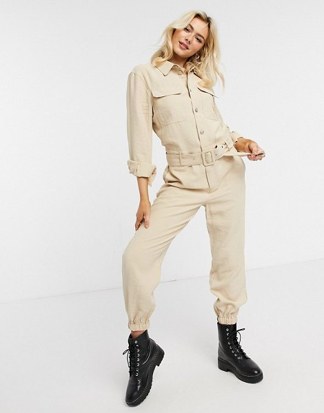 Only sanni long sleeve utility jumpsuit in cream in cream