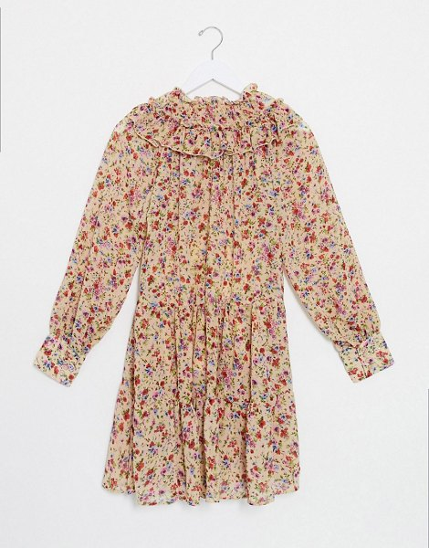 Only smock dress with ruffle neck in beige floral in beige