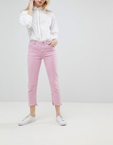 Only straight jean with destroyed hem in pink