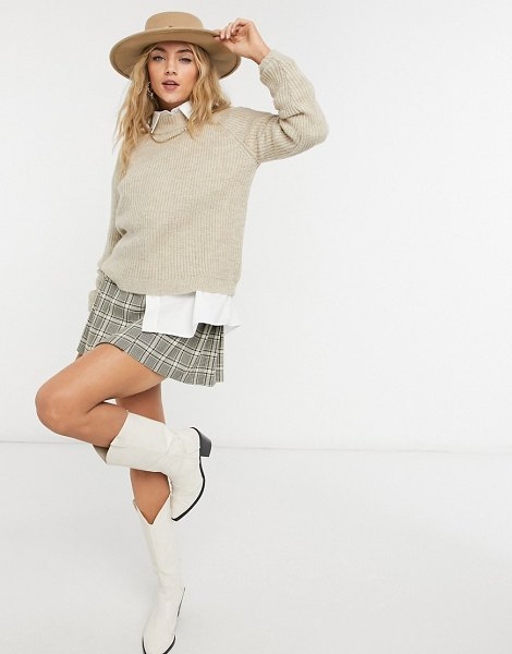 Only sweater with mock-neck in beige-brown in brown