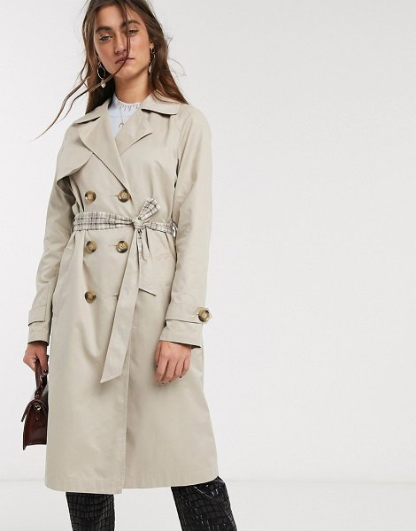 Only trench coat with check lining in beige-tan in tan