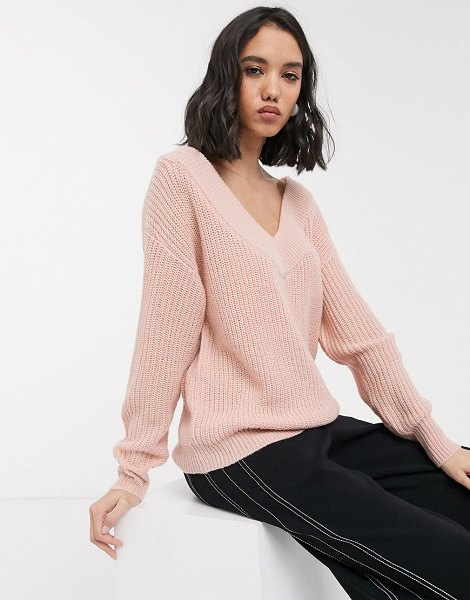Only v neck knitted sweater in pink in pink
