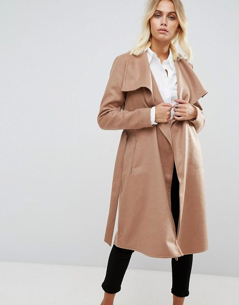 """Only Wrap Coat in camel - """"""""Coat by Only, Stretch woven fabric, Oversized lapels,..."""