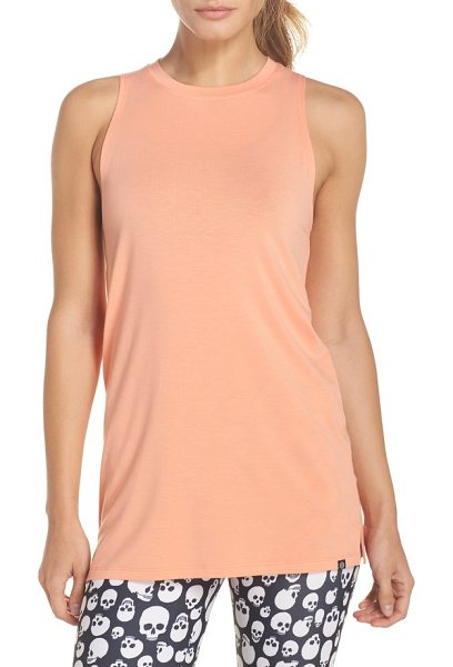 ONZIE braid tank in peach pink - A strappy cutout in back adds ventilation and an...