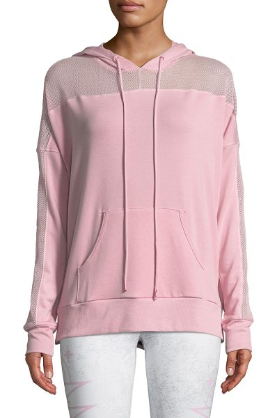 ONZIE Mesh Long-Sleeve Hoodie in blush - Onzie pullover with mesh inserts. Hooded neckline with...
