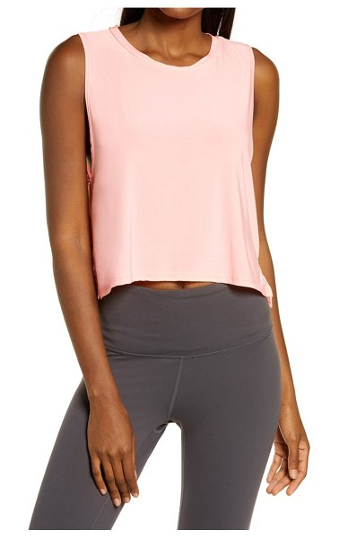 ONZIE tempo performance crop tank in neon coral