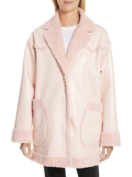 Opening Ceremony faux shearling & faux patent reversible coat in pearl pink - Reversible outerwear is an Opening Ceremony staple, and...