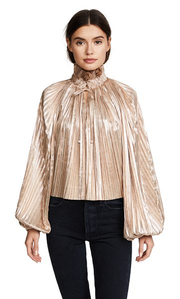 OPENING CEREMONY foil pleated bishop sleeve top - Fabric: Lamé Elastic cuffs Gathered pleats Pullover...