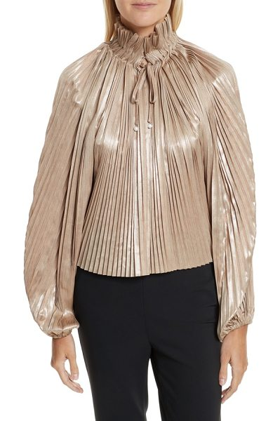 Opening Ceremony foil pleated top in pearlescent