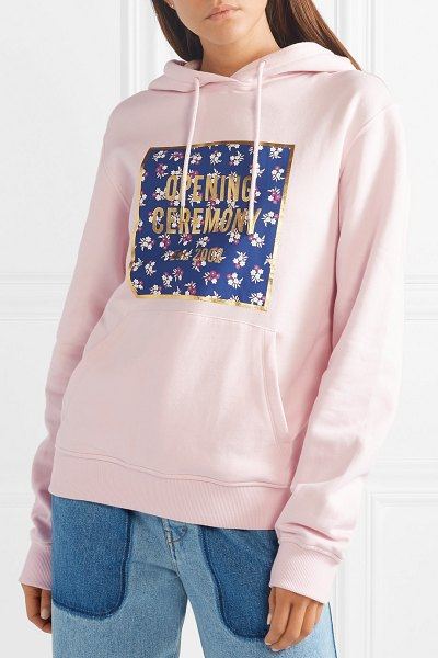 Opening Ceremony printed cotton-jersey hoodie in pastel pink - Opening Ceremony co-founders Carol Lim and Humberto Leon...