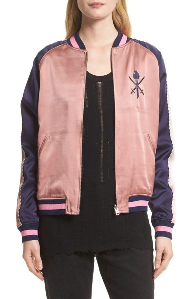 Opening Ceremony reversible silk bomber jacket in ash rose multi - Embrace one of the season's hottest jacket silhouettes...