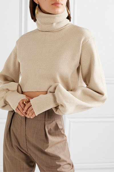 Orseund Iris cropped ribbed-knit turtleneck sweater in beige
