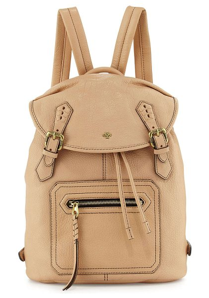 Oryany Jaylin leather backpack in almond - Oryany pebbled leather backpack. Antique golden...