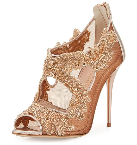Oscar de la Renta Ambria Beaded Lace 100mm Sandal in pink - Oscar de la Renta metallic leather sandal. Featuring...