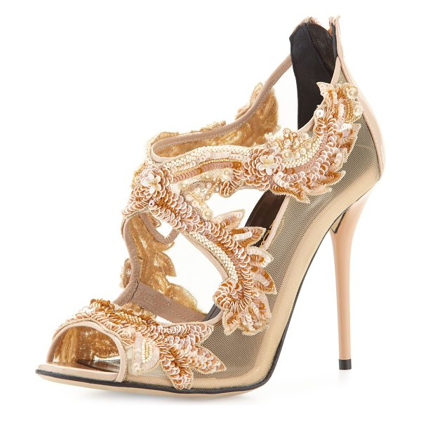 Oscar de la Renta Ambria beaded lace sandal in bisque
